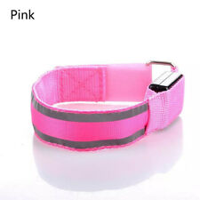 LED Reflective Light Arm Armband Strap Safety Belt for Night Running Cycling Pink
