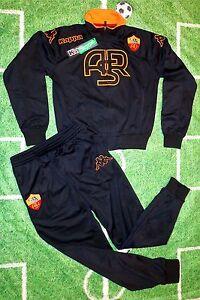 Original AS Rom Trainingsanzug schwarz KAPPA Kinder + NEUWARE + Tracksuit Roma