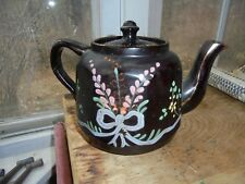 Vintage Wwii Pottery Teapot Escorted To Usa By Royal Navy Paint Flowers England