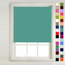 Thermal Blackout Roller Blind-Teal-120cm-with fixtures