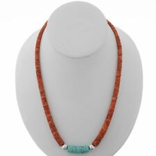 Navajo Heishi Spiny Oyster Turquoise Silver Necklace His or Hers Choker