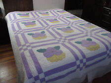 APPLIQUED PANSIES WITH PATCHWORK QUILT #1D  78-1/2 X 94 inches