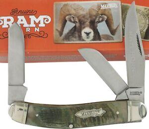 "Marbles Rams Horn Handles Stockman Pocket Knife 3.75"" MR359 3 Folding Blades"
