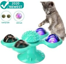 Turning Windmill Cat Toy Puzzle Turntable Teasing Toy Pet Tickle Cats Hair Brush