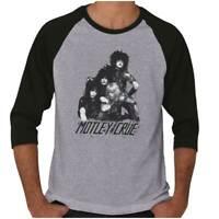 Motley Crue Band 1980s Glam Metal Concert Adult 3/4 Sleeved Raglan Tshirt Tee