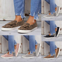 NEW Women Flat Casual Sneakers Bow Comfy Slip On Trainers Plimsolls Pumps Shoes