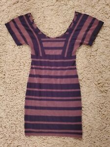 Free People Purple Pink Striped Scoop Neck Bodycon Short Sleeve Dress X-Small