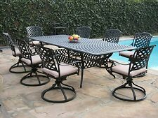 Cast Aluminum Patio Furniture 9 Pc Extension Dining Table / All 8 swivel Rockers