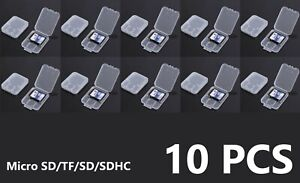 10 Transparent Standard SD SDHC Memory Card Case Holder Box Storage Plastic NA