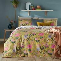 BRIGHT FLORAL BLOOMS FLOWERS YELLOW COTTON BLEND REVERSIBLE DOUBLE DUVET COVER