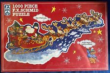 "NIB 1000 pc F.X Schmid ""Santa's on His Way"" jigsaw puzzle shape NEW SEALED 1999"
