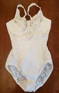 Playtex Secrets 38C White Lace Stretch Girdle Teddy Bodysuit #4237 Snap Crotch