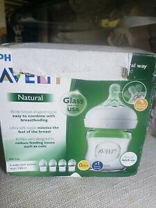 Avent 4 Pack Wide Neck Natural Flow Baby Bottles 0m+