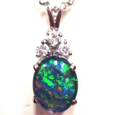 Natural Black Triplet Opal Pendant Solid Silver Set 7cts With Cubic Zirconia