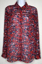 Kut From The Kloth Red Sheer Button Cut Outs Roll Tab Blouse Top Womens Medium M