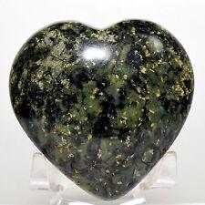 "2.7"" Green Nephrite Puffy Heart Natural ""Inca Jade"" Crystal Mineral Stone - Peru"