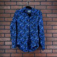 BONOBOS Mens Floral Slim Fit Button Up Shirt Mens Size Small Blue White