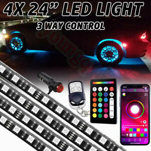 "4pcs 24"" RGB Car Truck Wheel Well LED Light Kit Custom Accent Neon Rim Tire Lamp"