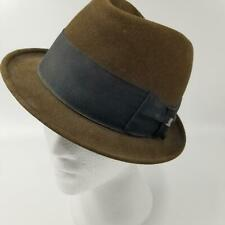 Mens Fedora Hat Kennedys Melton Beaver Blend Hand Felted Edge TopHat Pin 7 1/4