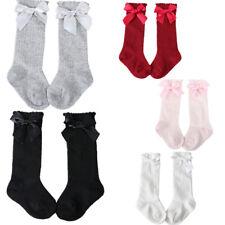Girls Baby Kids Knee High Socks 0-4 Age Ribbon Bow Toddler Cotton Socks Wine Red