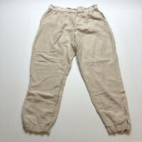 H&M Tan Beige Linen Blend Crop Pants US Size 10 A349