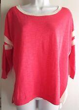 J.Crew NWT $69 Petites Pink Thin Knit Striped 3/4 Sleeve Boxy Sweater Sz SP