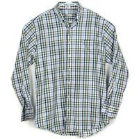 Peter Millar Mens Button Down Dress Shirt Size L Blue Brown Green Gingham Check
