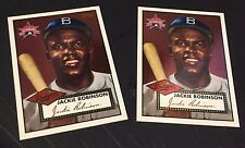 JACKIE ROBINSON 1997 FanFest LOT of ( 2 ) Foil Front Card #2 1952 Topps Reprint