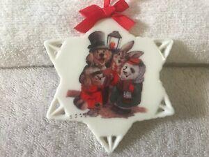 Vintage Christmas ornament ceramic snowflake Animals carolling max2606