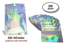"""100 - 4x6"""" Holographic Rainbow Laser Double-Sided Mylar Ziplock Bags Preorder"""