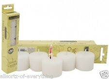 """10 x unscented votive candles 6-8 hours burn - white 100% pure wax 1.5"""" diameter"""