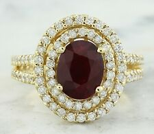 2.83 Carat Natural Ruby 14K Solid Yellow Gold Luxury Engagement Ring