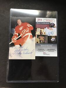 Mickey Redmond Detroit Red Wings Signed 3x5 Photo Card JSA CERTIFIED AUTOGRAPH