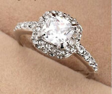 PLATINUM PLATED AUSTRIAN CRYSTAL 'ART DECO STYLE' ENGAGEMENT RING.SIZE  M