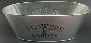 """Window Planters Printed 'Flowers & Garden' Oval Galvanized 11x5x4"""" Select Number"""