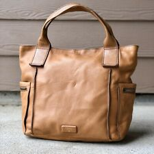 """FOSSIL EMERSON Large Brown Leather ~ Satchel Tote Purse ~ Bag """"Pebble Soft"""""""
