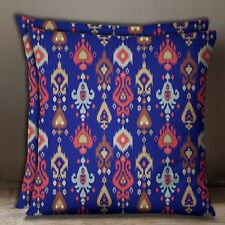 Indian Sofa Pillow Case Ikat Print 2 Pcs Royal Blue Cotton Poplin Cushion Cover
