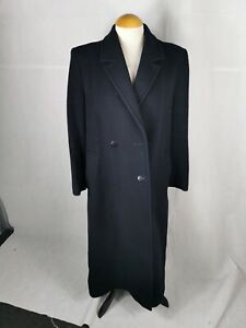 Ladies Coat Size 10 AUSTIN REED Navy Overcoat 52% Cashmere Missing Button