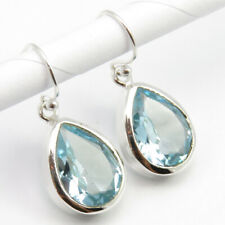 Earrings Online ! 92.5% Solid Sterling Silver AAA Quality Real BLUE TOPAZ 1.2""