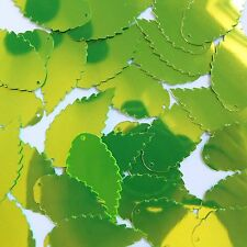 """Sequin Feather Leaf 1.5"""" Lime Green Metallic Fluorescent. Made in USA"""