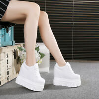 UK Women Platform Wedge Hidden Heel Shoes Casual Canvas High top Lace up Sneaker