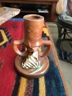 ROSEVILLE Pottery Candle Stick 1161-41/2 Freesia Flowers Orange Brown 1940's VTG