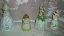 Lot Of 4 Vintage Lady Porcelain Bells Precious Moments Avon Lefton