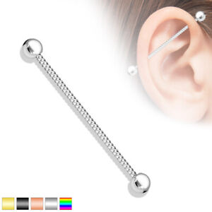 Twisted Rope Industrial Scaffold Barbell Piercing Bar 316L Surgical Steel