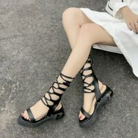 Womens Ladies New Fashion Leather Ankle Wrap Lace Up Sandals Gladiator Shoes GMO