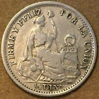 1902 Peru 1/2 Dinero Silver Coin, 1.25g, 15mm, free combined shipping.