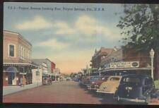 Postcard TARPON SPRINGS FL  Baynard Drug Store & Business Storefronts 1930's