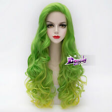 75CM Green Mixed Yellow Long Curly Hair Harajuku Anime Daily Cosplay Wig Lolita