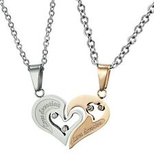2 Pendants + 2 Chains Man Woman Steel & Gold Pink Love Devotion New Heart