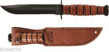 KA-BAR #1261 U.S.A. 3/4 SIZE COMBO EDGE FIGHTING UTILITY KNIFE w/ LEATHER SHEATH